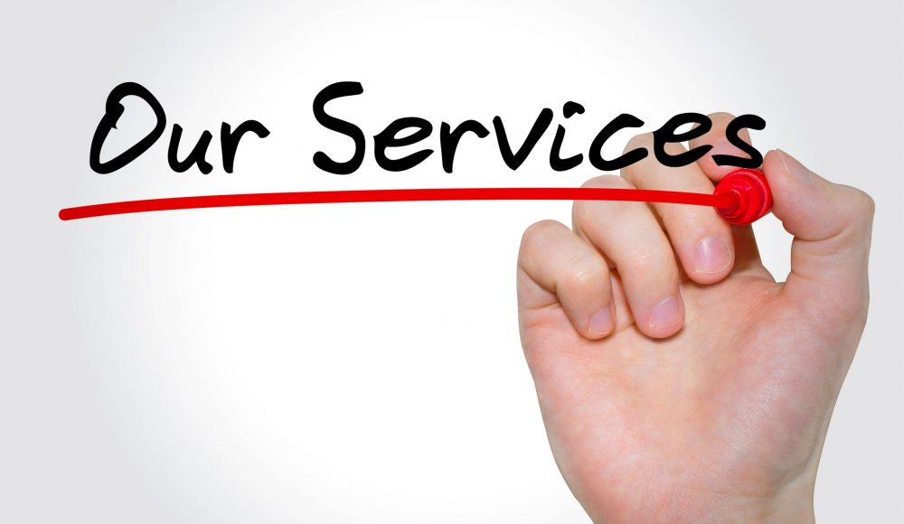 Hand writing inscription Our Services with marker, concept
